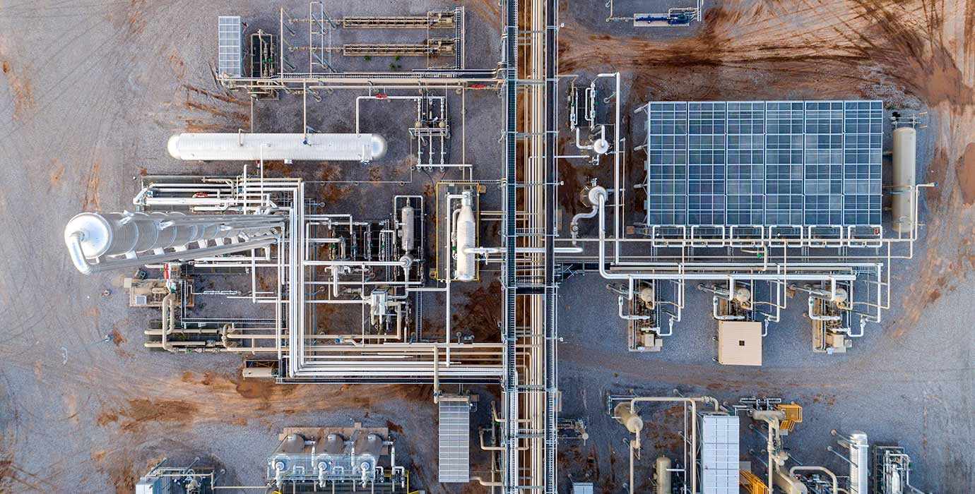 Aerial view of a Blue Mountain Midstream processing facility