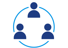 Collaborative Environment Icon Showing a Team of People in a Circle