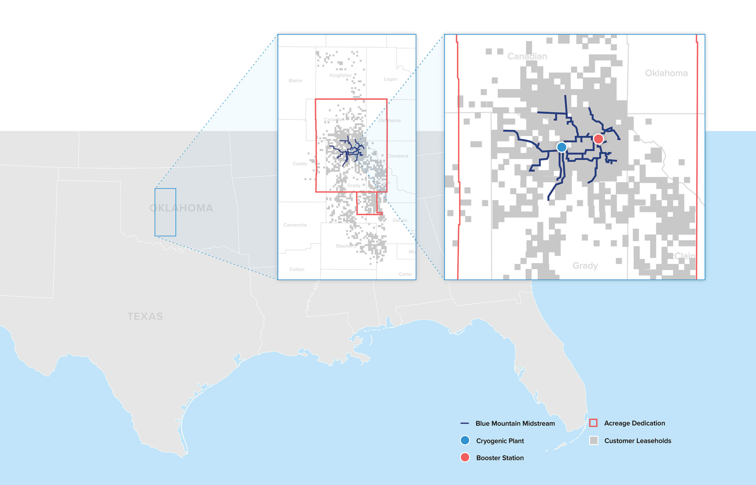 Blue Mountain Midstream operations map zooming in on Oklahoma